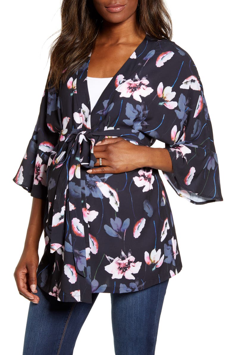 ANGEL MATERNITY Blooming Maternity Wrap Top, Main, color, FLORAL PRINT