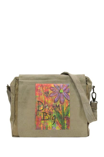 Image of Vintage Addiction Dream Big Recycled Military Tent Crossbody Bag