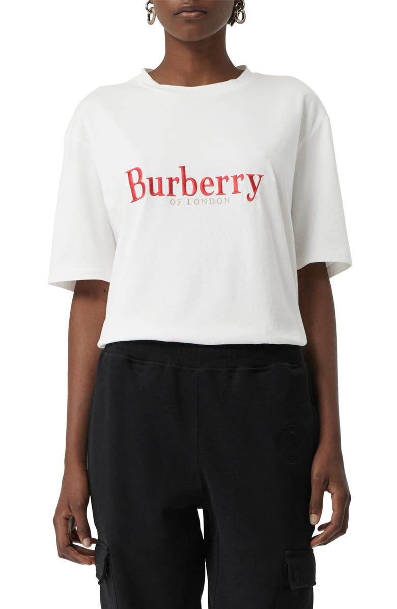 BURBERRY Lopori Archive Logo Tee, Main, color, WHITE/ RED