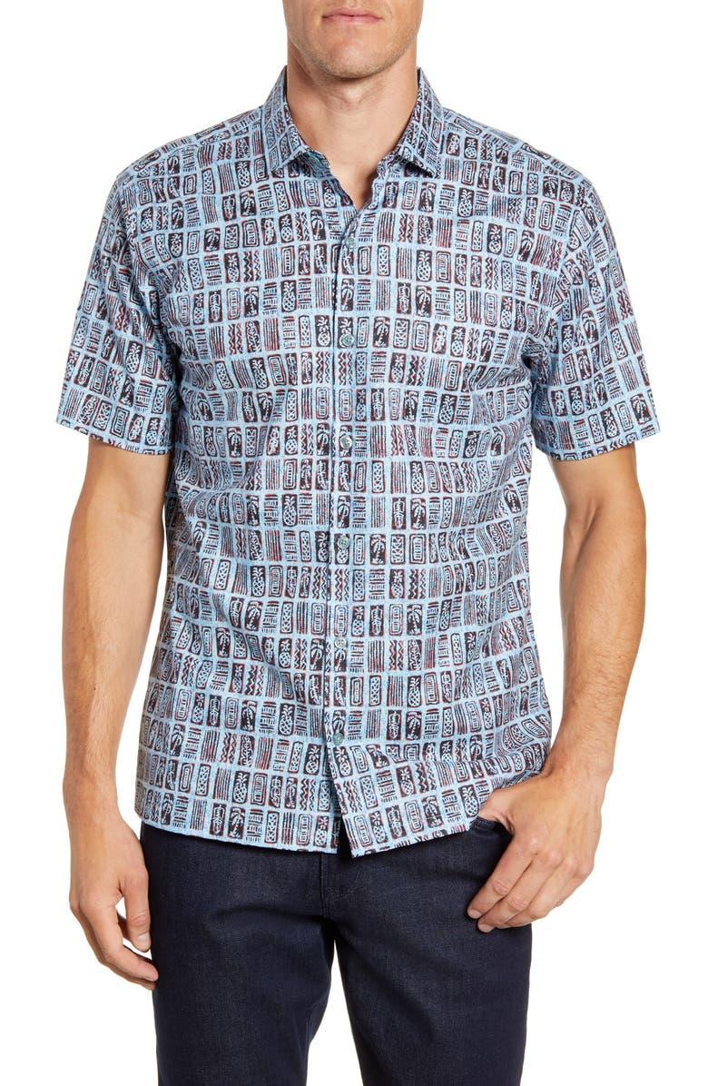 TORI RICHARD Block Tiles Regular Fit Short Sleeve Button-Up Shirt, Main, color, BLUE