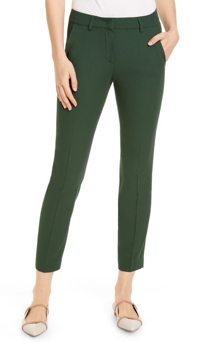 FABIANA FILIPPI Slim Wool Pants, Main, color, GREEN