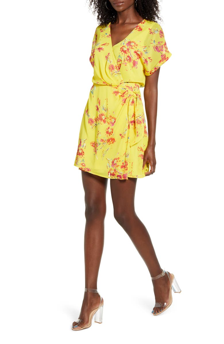 ALL IN FAVOR Simone Floral Wrap Front Minidress, Main, color, MUSTARD-RED FLORAL