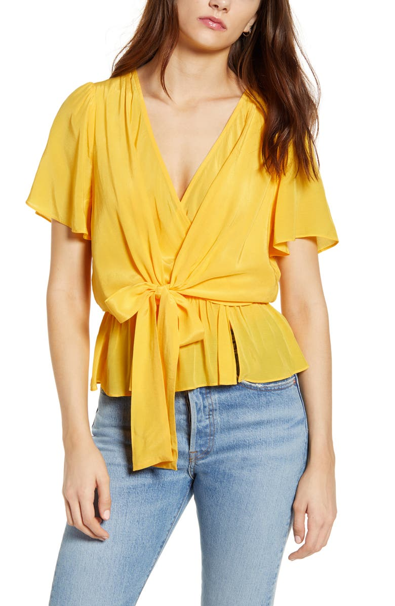J.O.A. Short Sleeve Wrap Front Blouse, Main, color, YELLOW