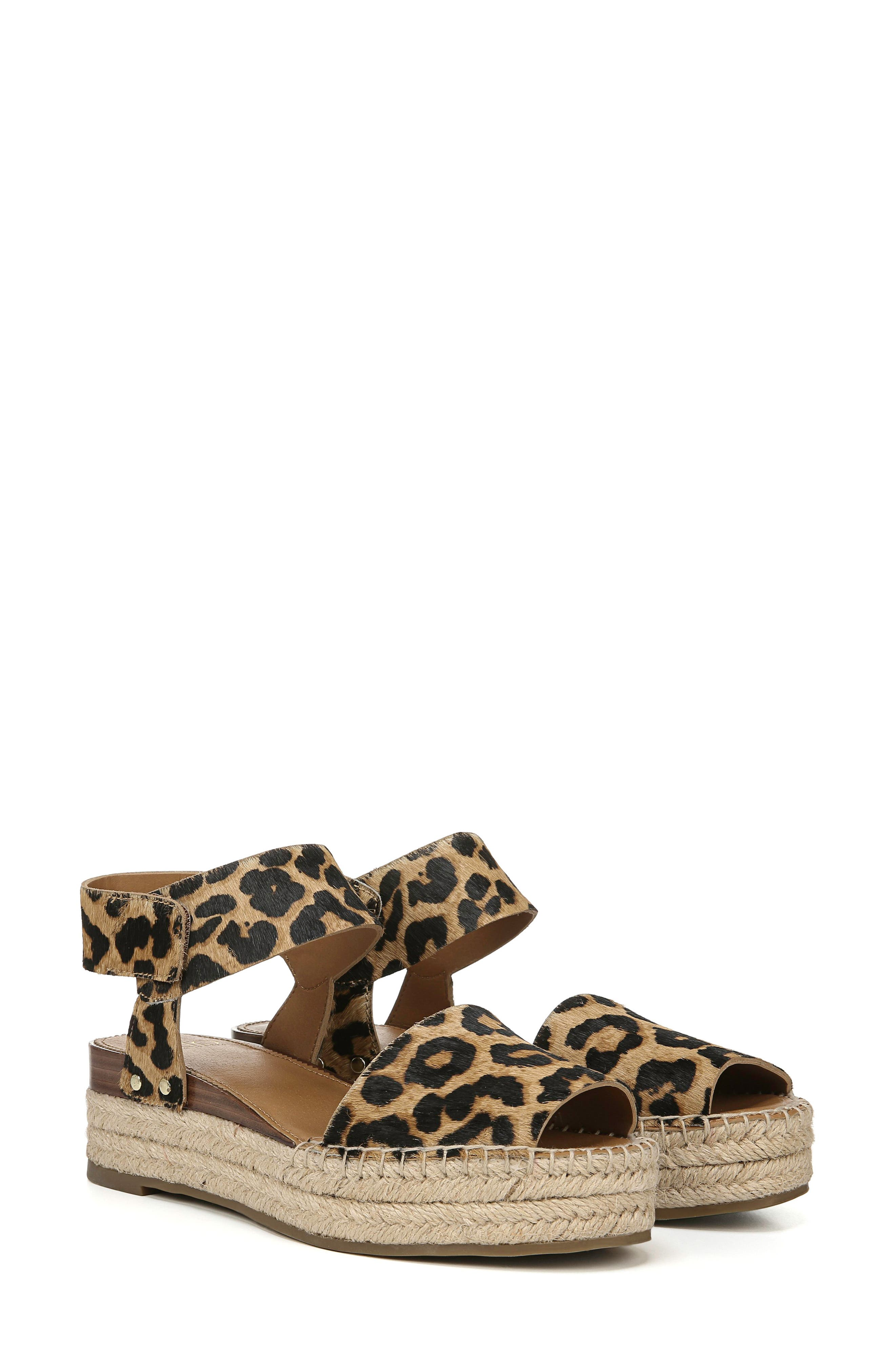 ,                             Oak Genuine Calf Hair Platform Wedge Espadrille,                             Alternate thumbnail 9, color,                             LEOPARD PRINT CALF HAIR