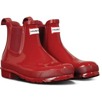 Hunter Original Gloss Waterproof Chelsea Boot, Red