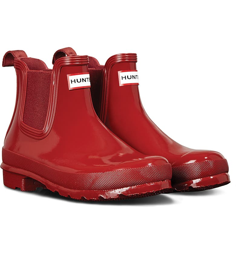 HUNTER Original Gloss Waterproof Chelsea Boot, Main, color, MILITARY RED