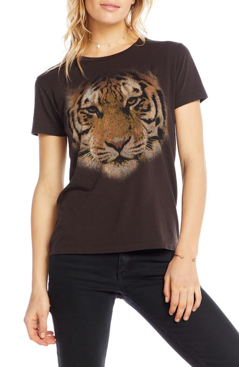 CHASER Tiger Eyes Graphic Sleep Tee, Main, color, VINTAGE BLACK