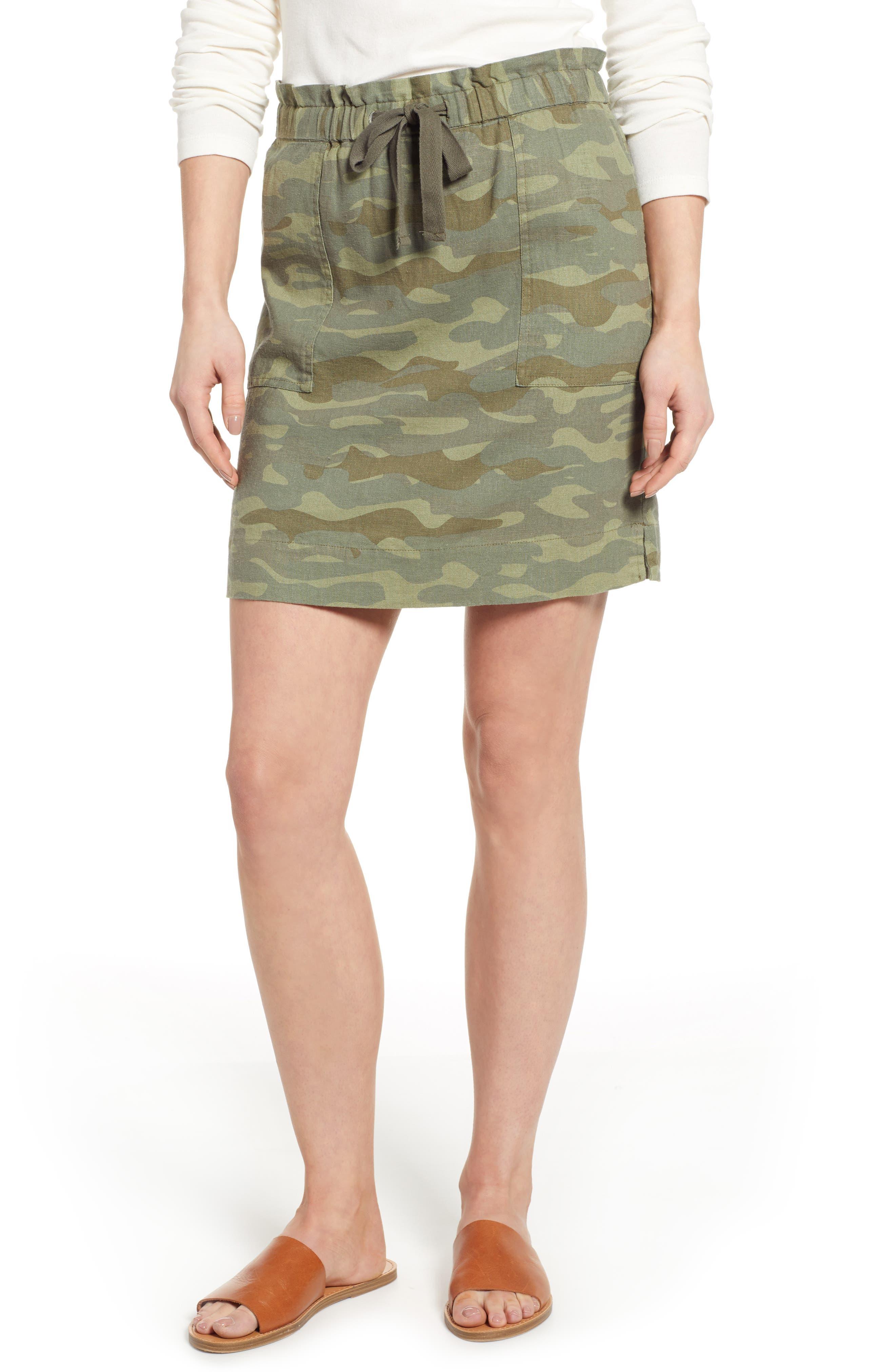 Caslon Paperbag Waist Linen Blend Skirt, Green