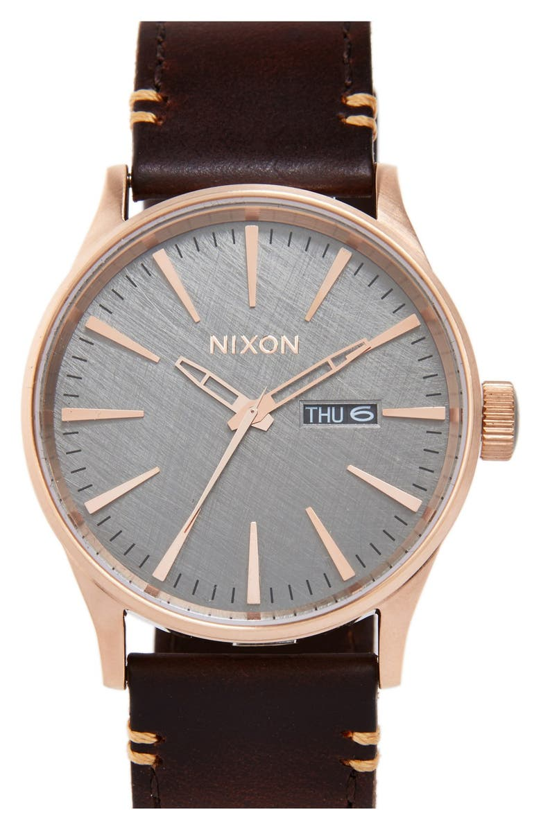 NIXON The Sentry Leather Strap Watch, 42mm, Main, color, BROWN/ ROSE GOLD/ GUNMETAL