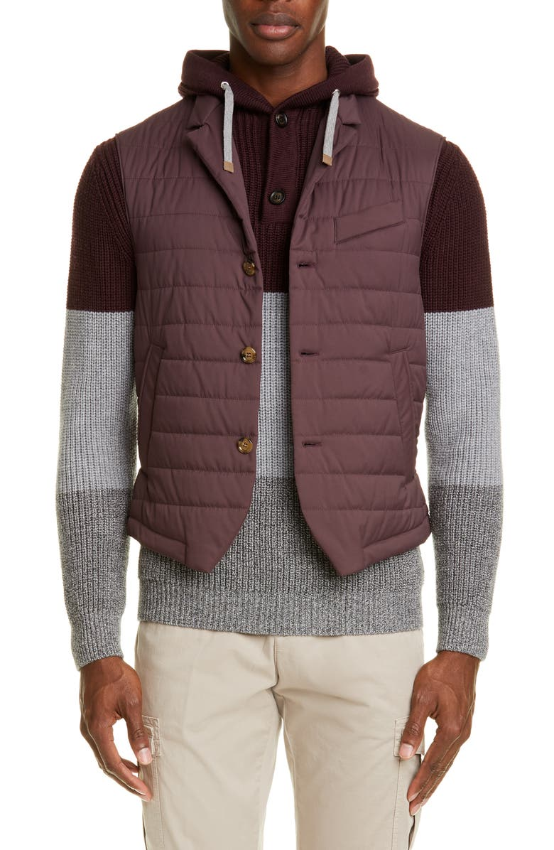 ELEVENTY Packable Quilted Vest, Main, color, RUBY