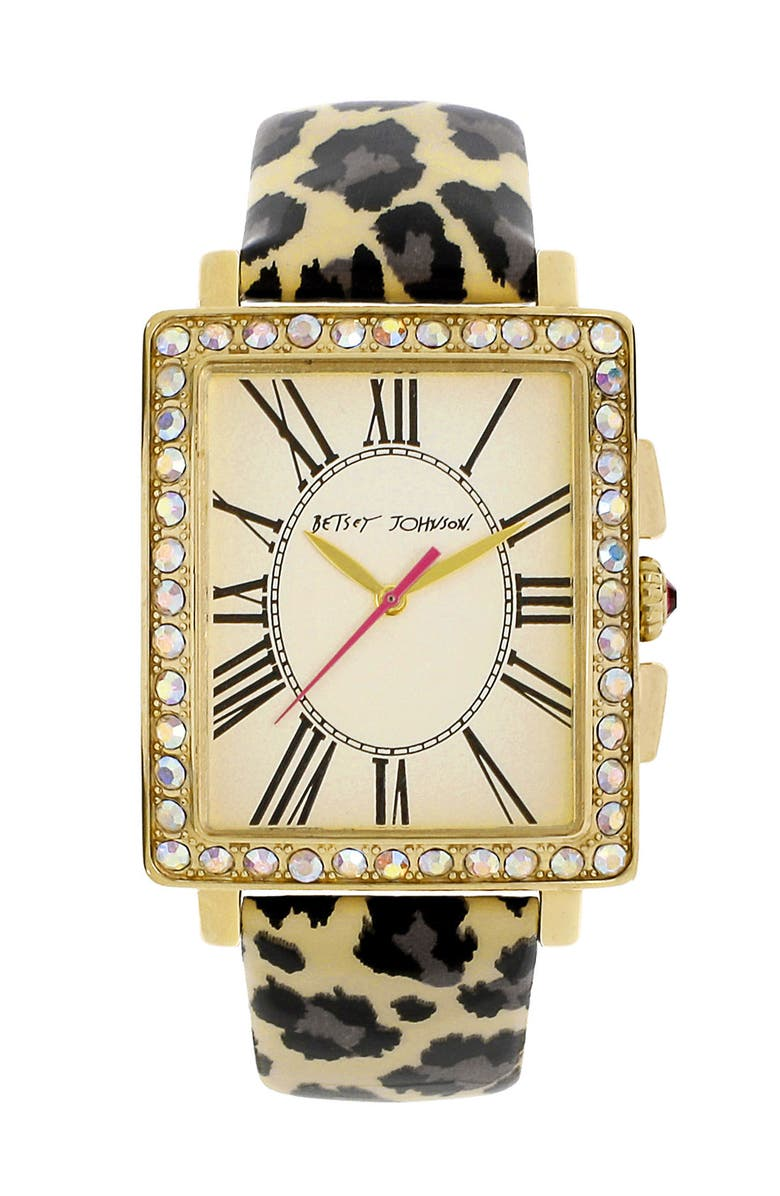 BETSEY JOHNSON Patent Leather Strap Watch, Main, color, GOLD/ LEOPARD