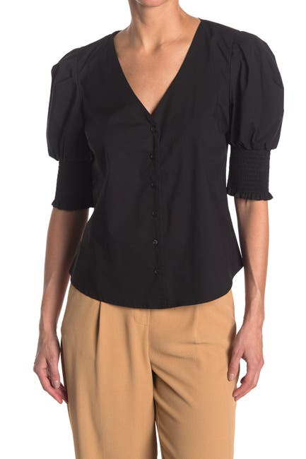 Image of Laundry By Shelli Segal Smocked Puff Sleeve Top