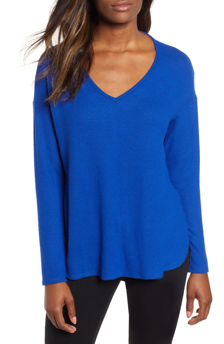 GIBSON Cozy V-Neck Top, Main, color, BLUE MAZE