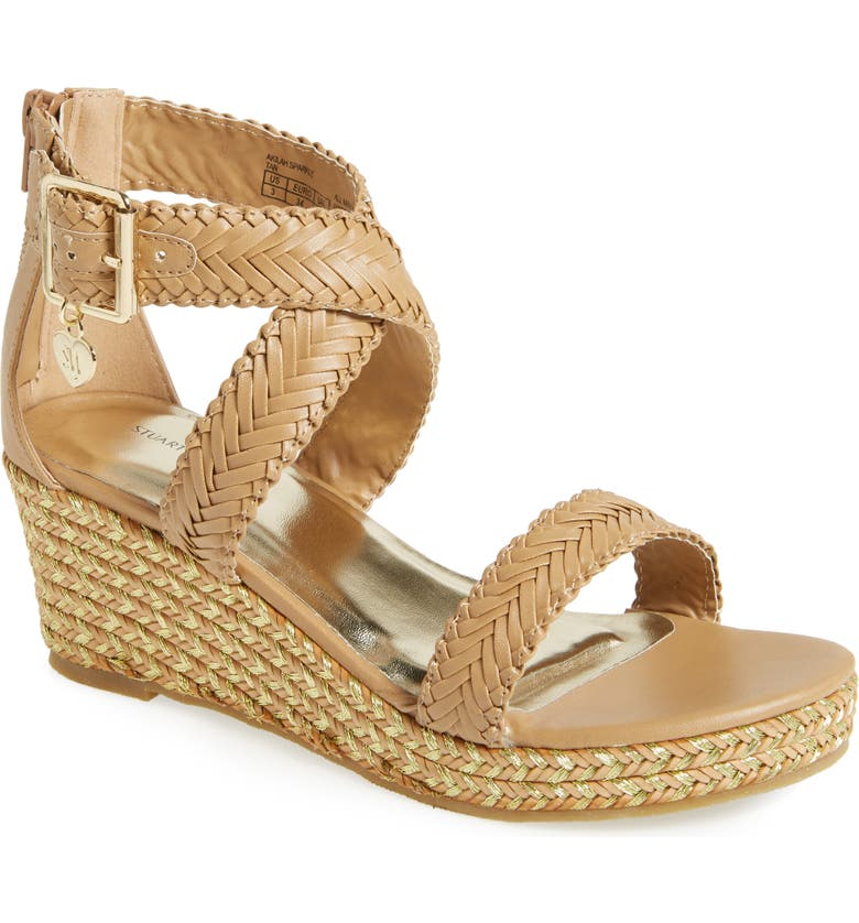 STUART WEITZMAN Akilah Wedge Sandal, Main, color, TAN FAUX LEATHER
