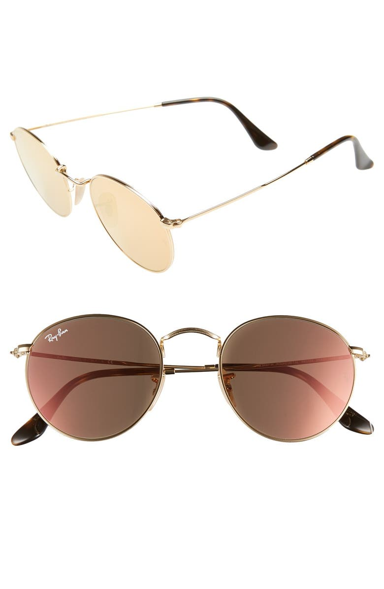 RAY-BAN Icons 50mm Round Sunglasses, Main, color, GOLD/ PINK