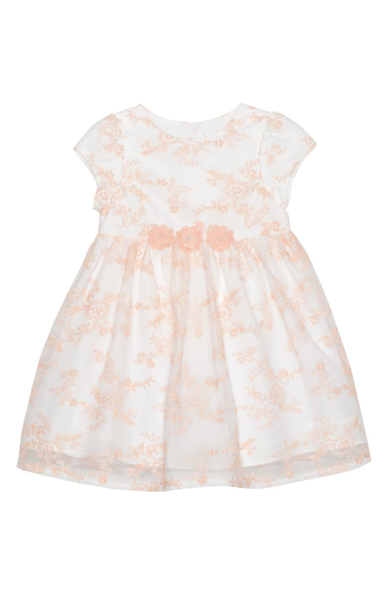 PIPPA & JULIE All Over Dainty Embroidered Party Dress, Main, color, WHITE/ PEACH
