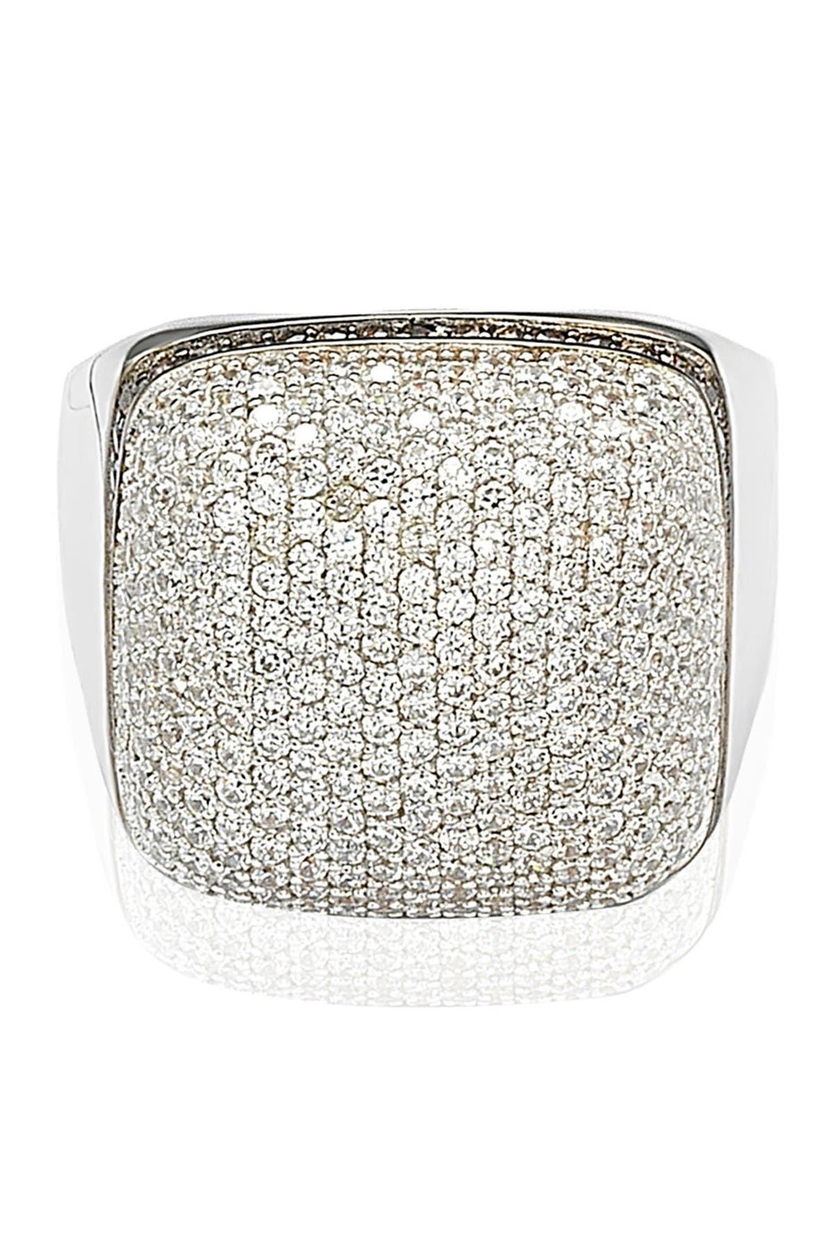 Image of Suzy Levian Sterling Silver White CZ Golden Square Ring