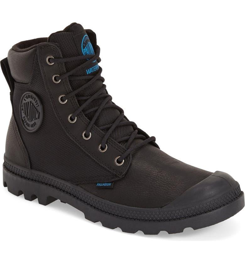 PALLADIUM 'Pampa Sport Cuff' Waterproof Boot, Main, color, BLACK