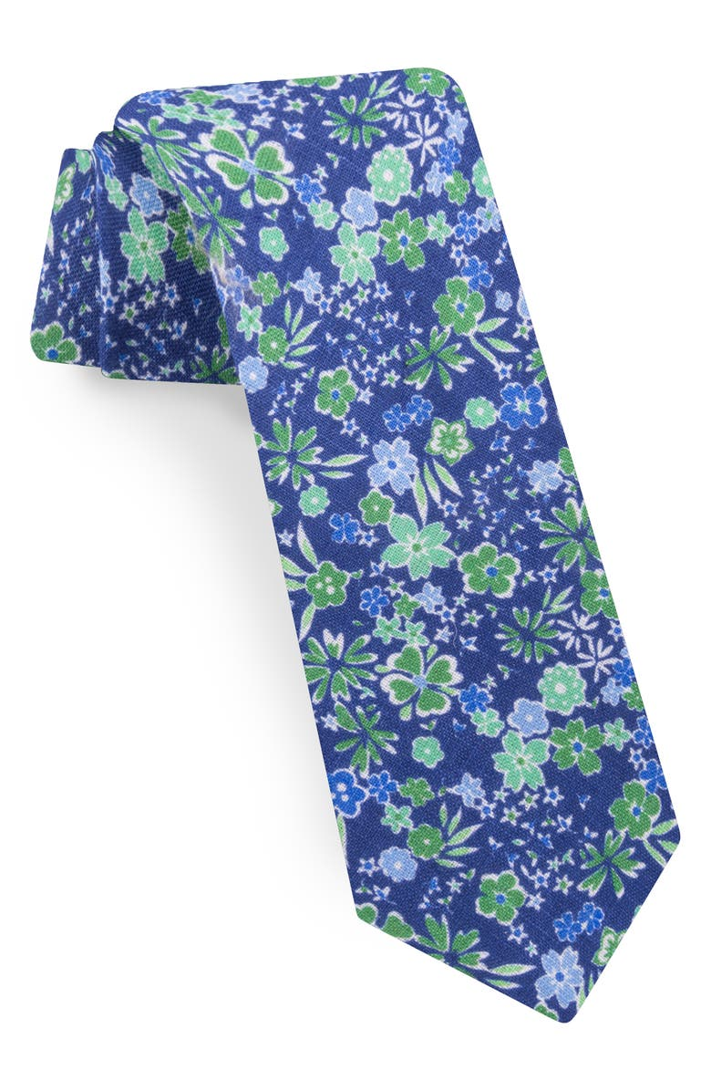 TED BAKER LONDON Floral Linen Tie, Main, color, GREEN