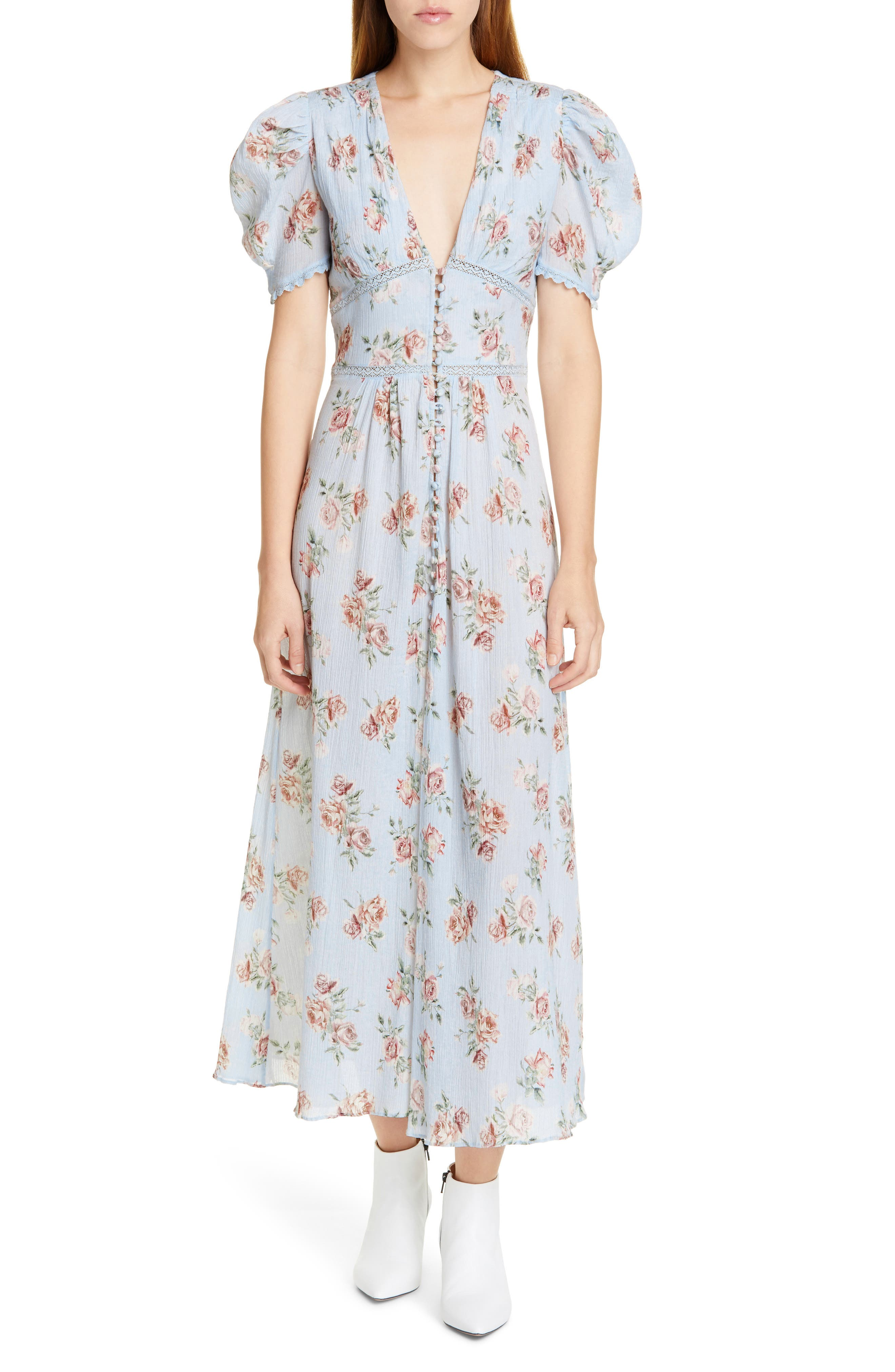 Loveshackfancy Stacy Floral Lace Inset Cotton Maxi Dress, Blue