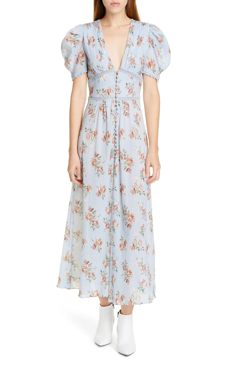 LOVESHACKFANCY Stacy Floral Lace Inset Cotton Maxi Dress, Main, color, PERI