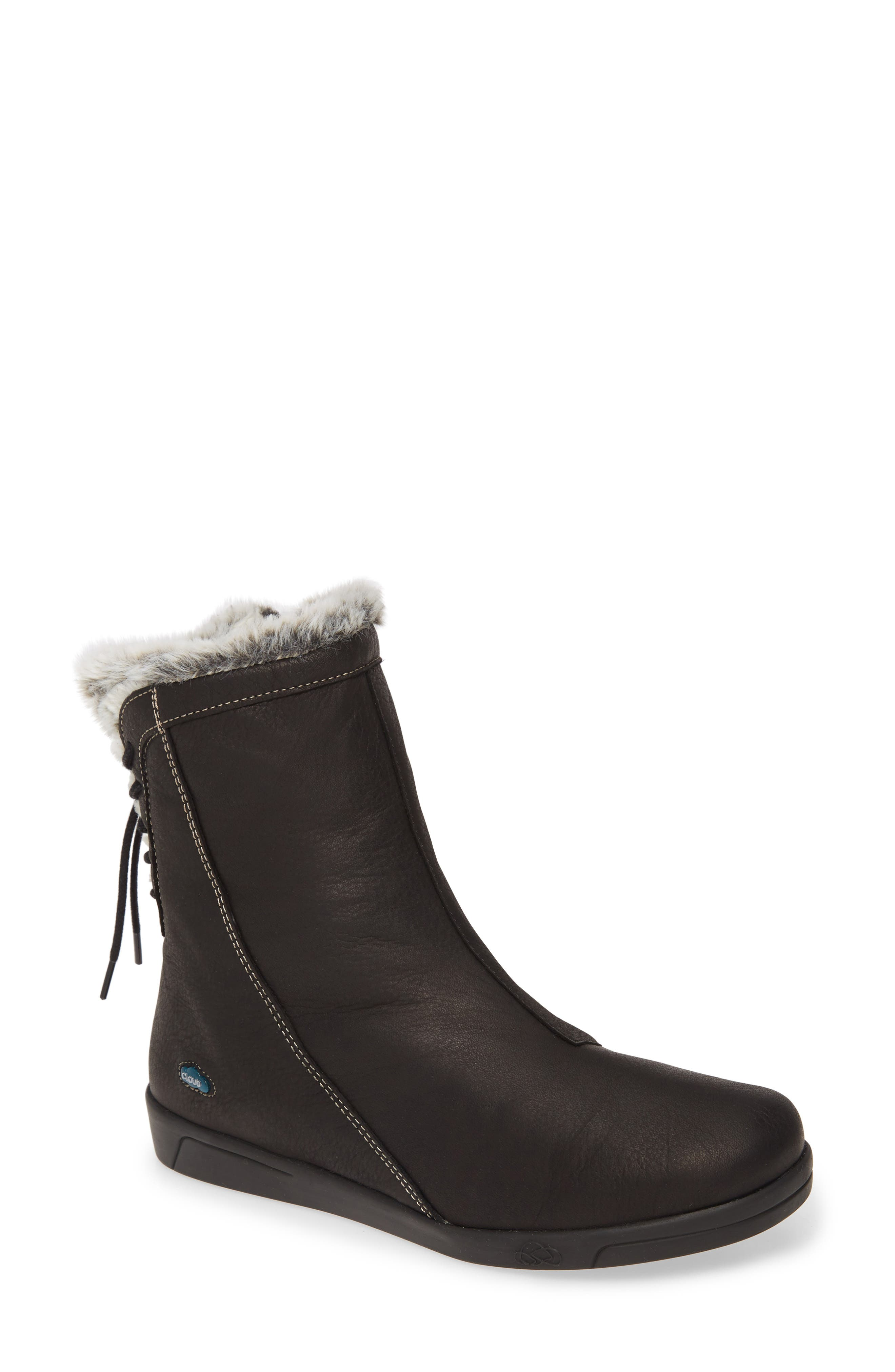 Plush faux fur shows at the topline and through the split, lace-up back of a trim bootie styled with contrast topstitching and an angled side-zip closure. Style Name: Cloud Aryana Faux Fur & Wool Lined Boot (Women). Style Number: 5936464. Available in stores.