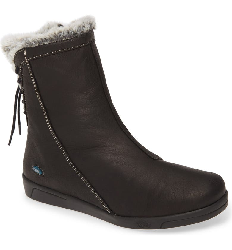 CLOUD Aryana Faux Fur & Wool Lined Boot, Main, color, BLACK LEATHER