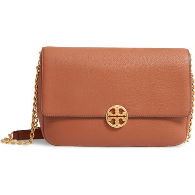 Tory Burch Chelsea Leather Shoulder Bag - Brown