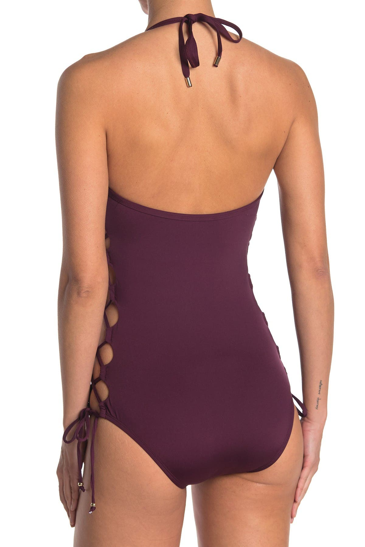 Image of Laundry By Shelli Segal Plunge Tie Up One Piece Swimsuit