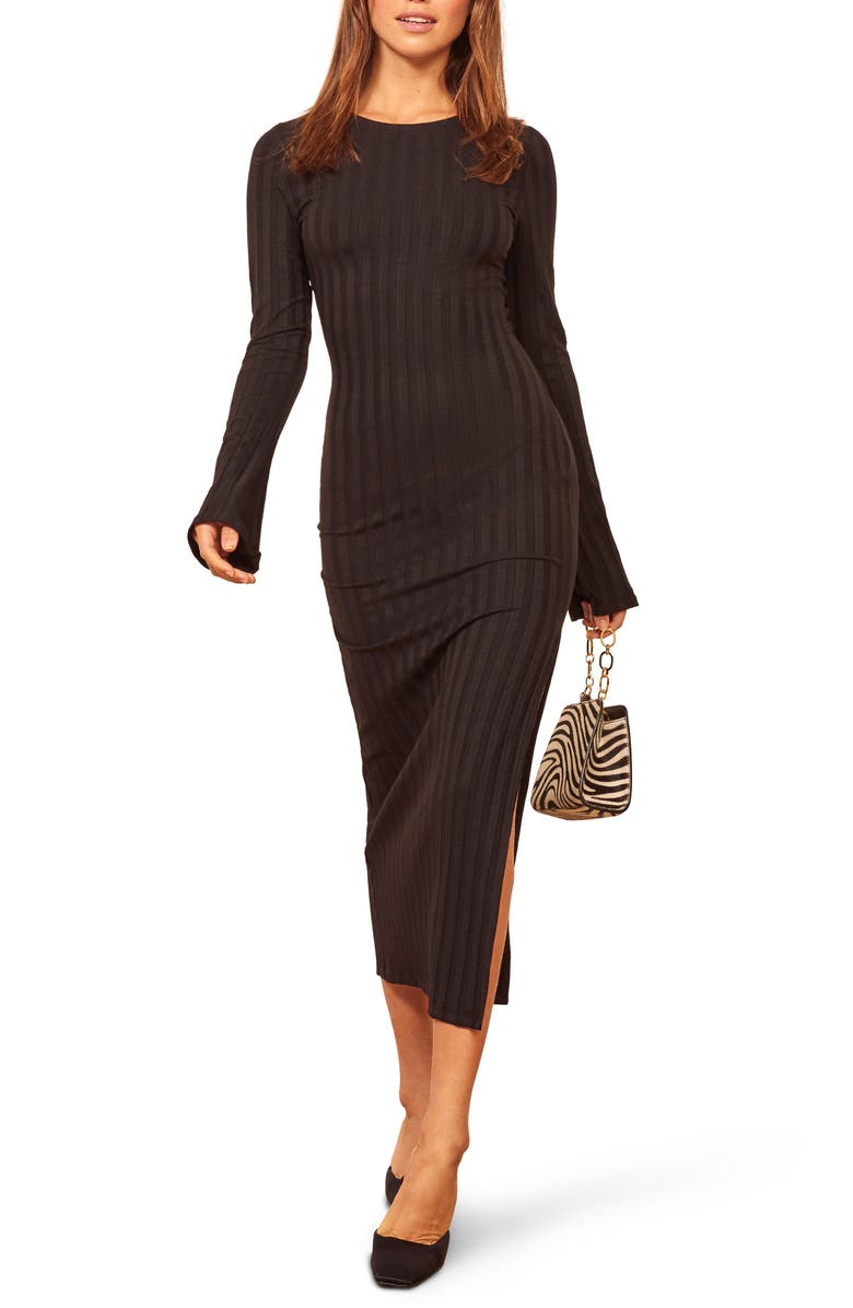 REFORMATION Dillon Ribbed Long Sleeve Midi Dress, Main, color, BLACK