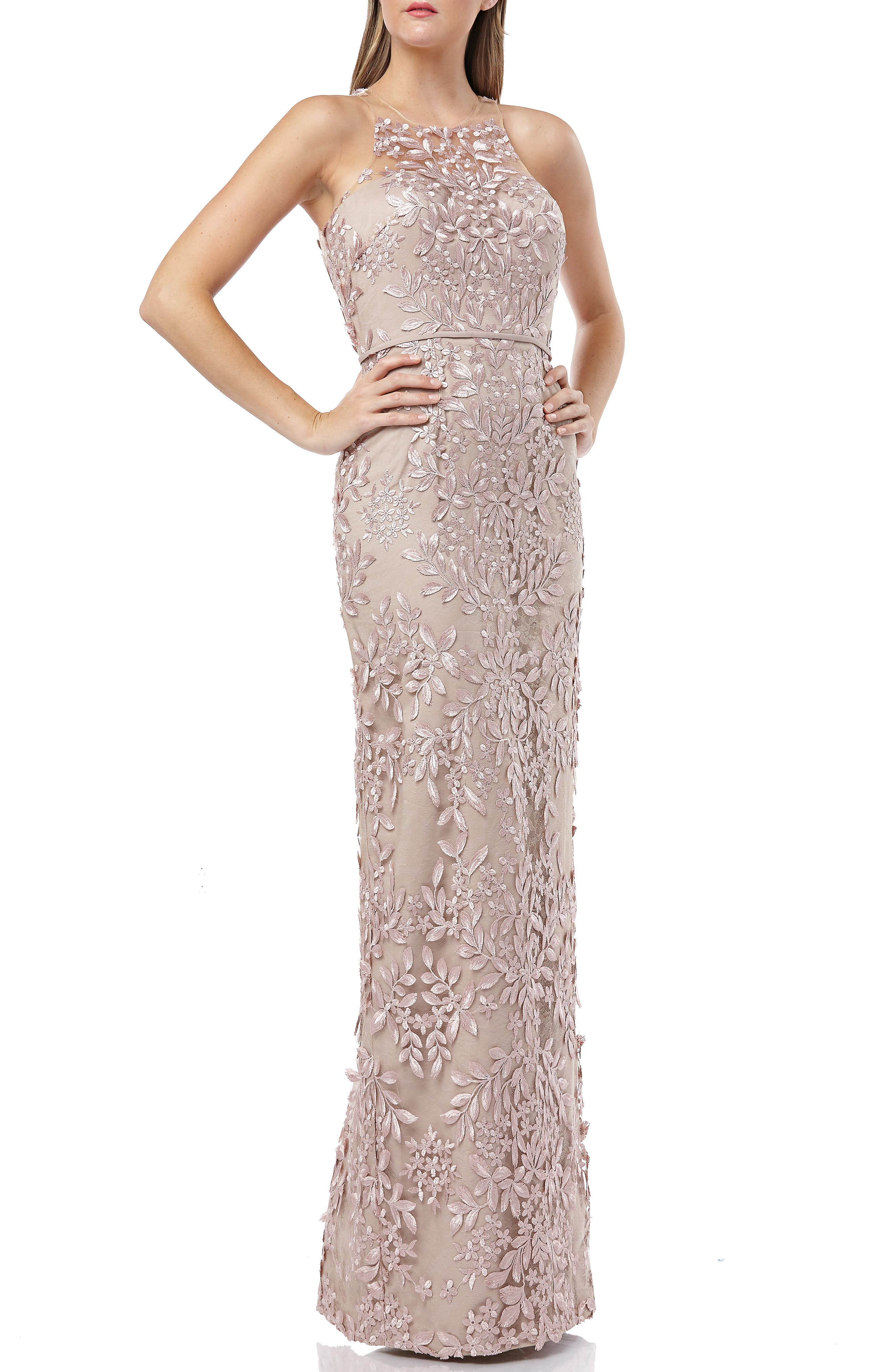 Js Collections 3D Embroidered Mesh Evening Dress, Beige