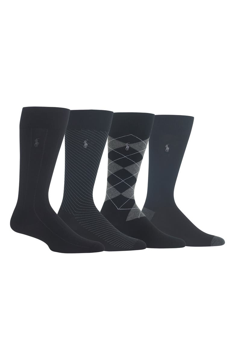 POLO RALPH LAUREN 4-Pack Assorted Business Socks, Main, color, 001