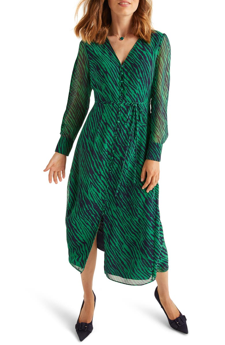 BODEN Hazel Long Sleeve Midi Dress, Main, color, HIGHLAND GREEN SAFARI