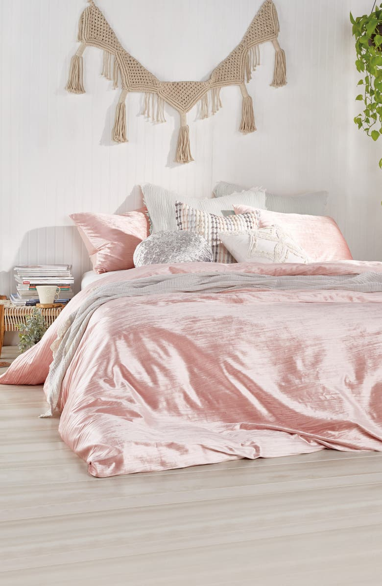 PERI HOME Crinkled Velvet Comforter & Sham Set, Main, color, BLUSH