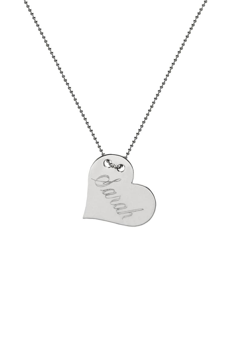 JANE BASCH DESIGNS Personalized Heart Pendant Necklace, Main, color, STERLING SILVER
