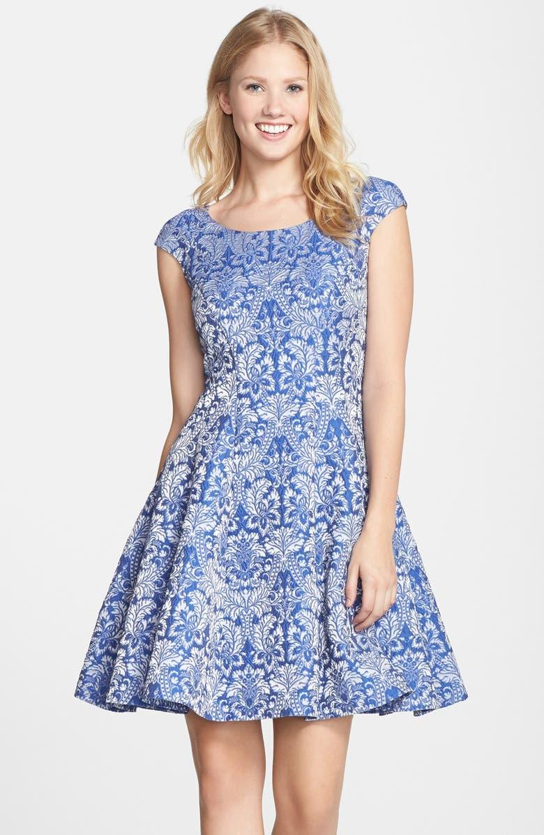 BETSEY JOHNSON Jacquard Cap Sleeve Fit & Flare Dress, Main, color, 400