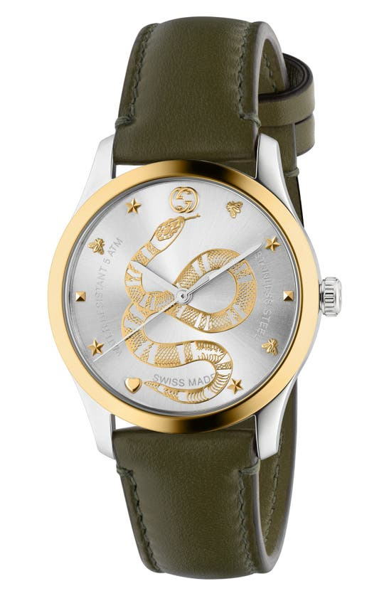 Gucci Men's 38mm G-timeless 2-tone Snake Watch W/ Leather Strap In Brown/ Silver/ Gold