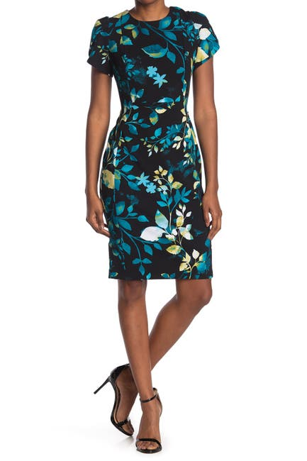 Image of Calvin Klein Floral Short Sleeve Sheath Dress