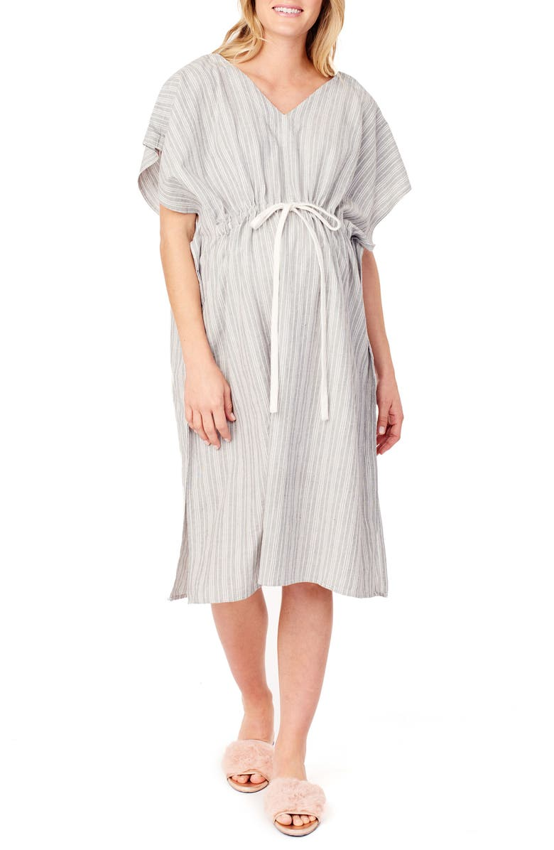 INGRID & ISABEL<SUP>®</SUP> x James Fox & Co. Maternity/Nursing Hospital Gown, Main, color, BLACK/ WHITE DOBBY STRIPE