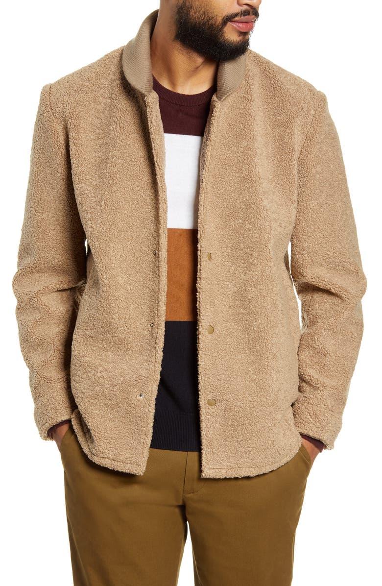 CLUB MONACO Faux Fur Jacket, Main, color, MOCHA