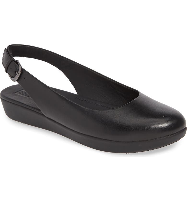 FITFLOP Sarita Slingback Flat, Main, color, ALL BLACK LEATHER