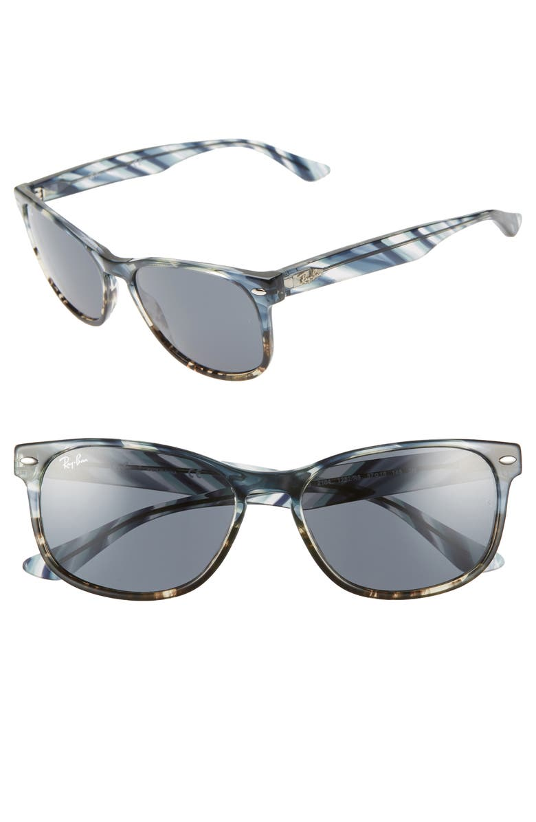 RAY-BAN 57mm Sunglasses, Main, color, BLUE SOLID