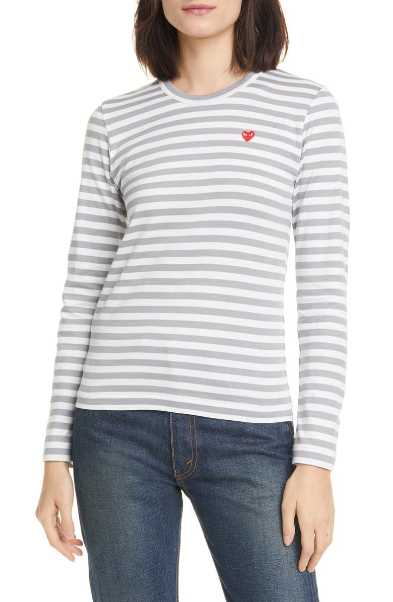 COMME DES GARÇONS PLAY Stripe Cotton Tee, Main, color, GREY