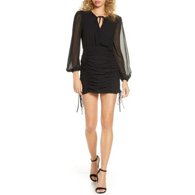 Finders Keepers Pia Ruched Long Sleeve Georgette Minidress, Black