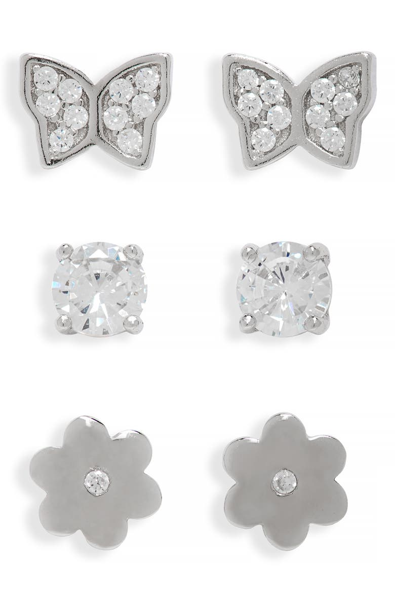 CHARM IT!<SUP>®</SUP> 3-Pack Sterling Silver Floral Earrings, Main, color, SILVER