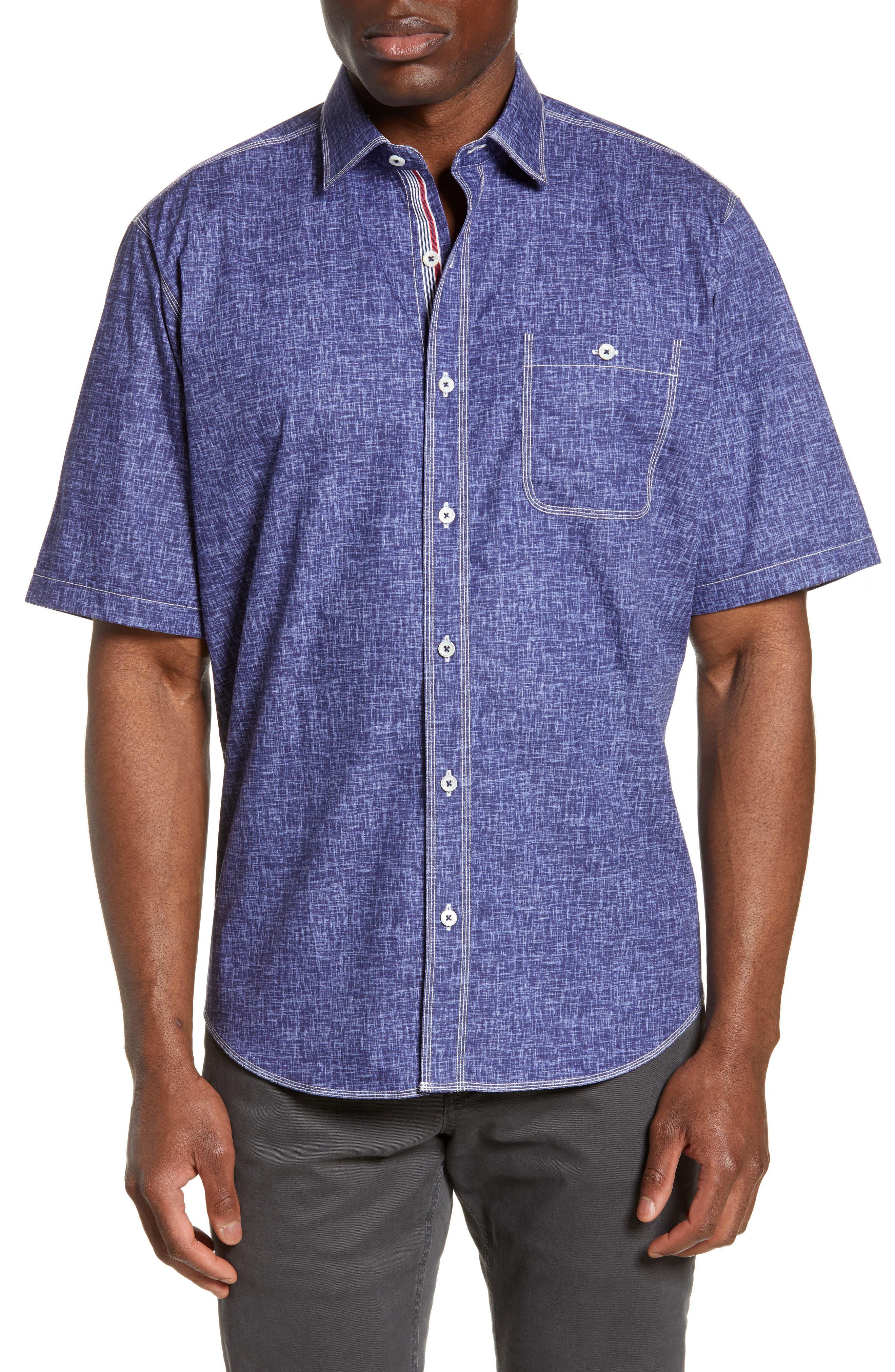 men's bugatchi classic fit chambray shirt