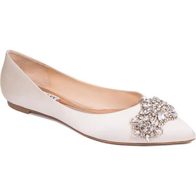 Badgley Mischka Eavan Crystal Embellished Pointed Toe Flat, Ivory