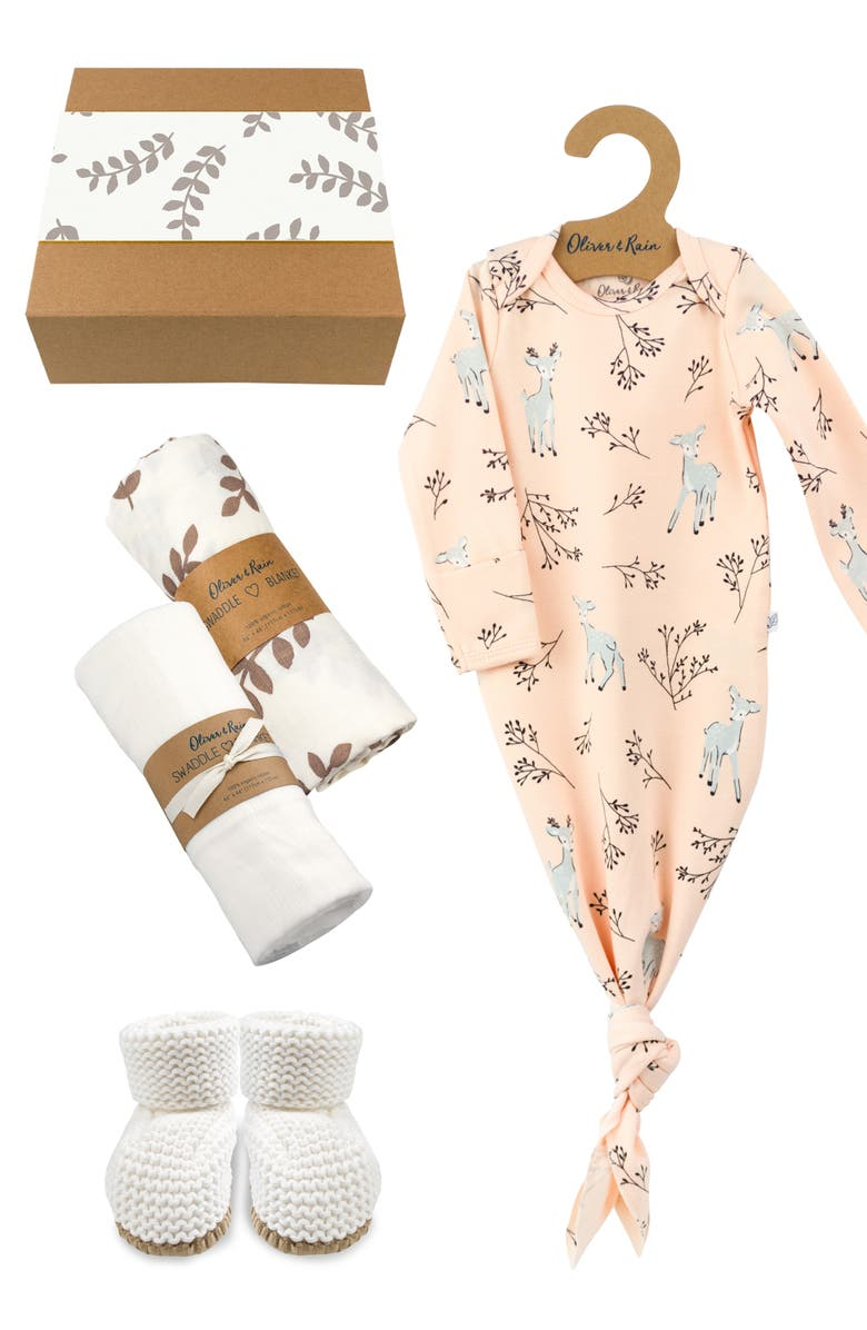 OLIVER & RAIN Newborn Organic Cotton Gown, Booties & Swaddle Gift Set, Main, color, 650