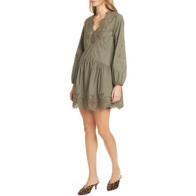 La Vie Rebecca Taylor Embroidery Detail Long Sleeve Cotton Poplin Minidress, Green