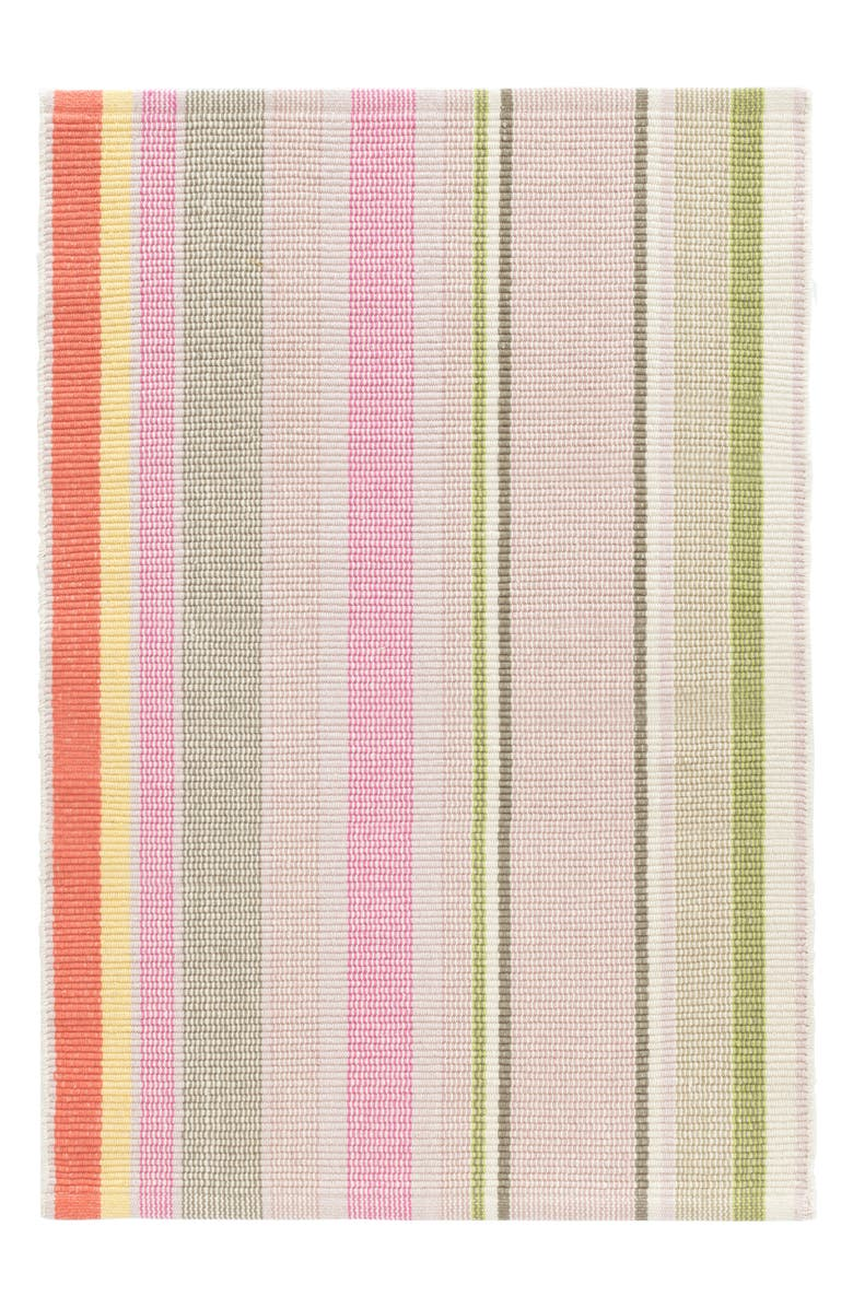 DASH & ALBERT Paris Stripe Woven Cotton Rug, Main, color, PINK